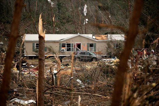 یک خانه در بیورگارد ایالت آلاباما آمریکا پس از وقوع طوفان