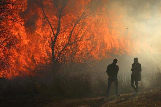 مردم به شعله های آتش که علفهای خشک و بوتهها در نزدیکی روستای Ivanovka شبهجزیره کریمه را در برگرفته، نگاه میکنند
