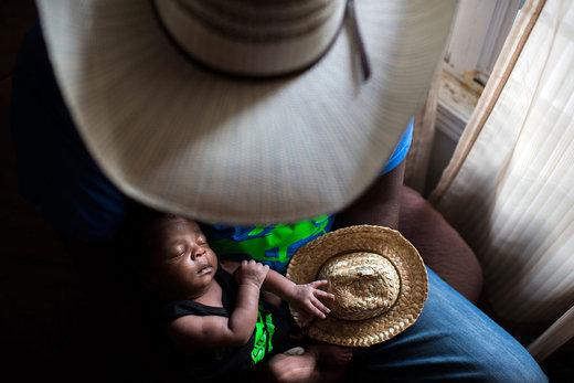 خوشامدگویی پدر به نوزاد تازه متولد شده در خانهشان در شهر کلیولند ایالت میسیسیپی آمریکا