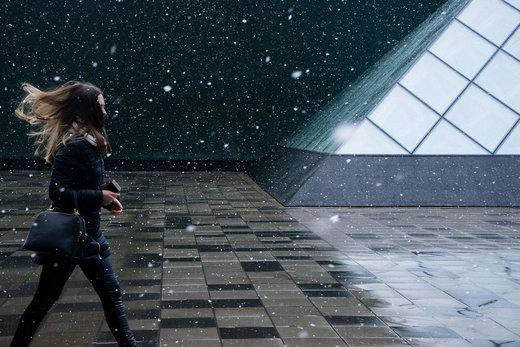 بارش برف بهاری در مسکو