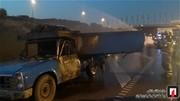 تصاویر | آتش گرفتن وانتنیسان در تصادف با مینیبوس
