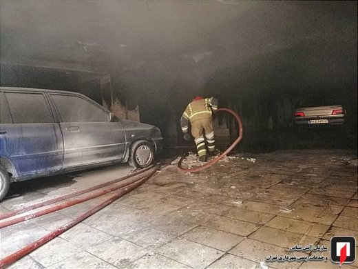 مهار آتش سوزی خودروها در پارکینگ ساختمان