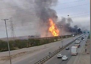 فیلم | انفجار مهیب لولههای گاز در اهواز با ۵ کشته | اتوبوس، سواری و وانت سوختند