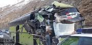 تصاویر | تصادف اتوبوس با دیواره تونل در جاده چالوس