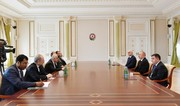 Iran's Minister of Economic Affairs confers with President of Azerbaijan