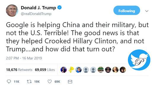 حمله ترامپ به گوگل