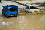 تصاویر | بارش شدید باران و طغیان رودخانه در ساری