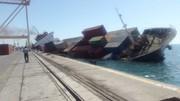 اولین تصاویر از لحظه غرقشدن کشتی باری در بندرعباس