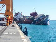 تصاویر | واژگونی کشتی کانتینری در اسکله بندر شهید رجایی