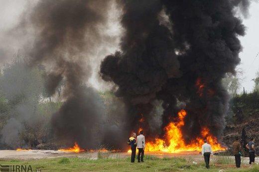 آتش سوزی در خط لوله انتقال بنزین از جنوب به تهران در شوش