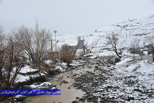 سفیدپوش شدن روستای بند و ارتفاعات خوشاکو