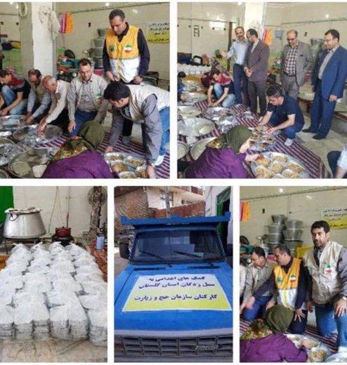طبخ و توزیع غذای گرم در مناطق سیلزده توسط سازمان حج و زیارت