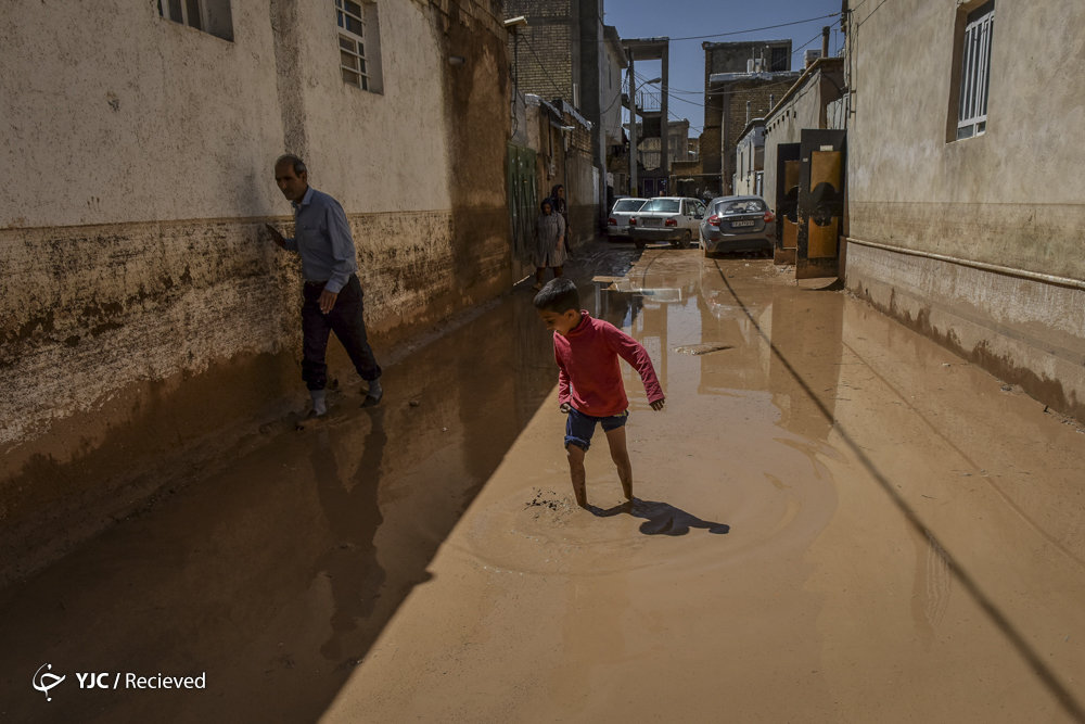 سعدیه شیراز پس از فروکش کردن سیلاب روز گذشته