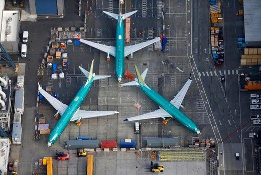 عکس هوایی از هواپیماهای بوئینگ 737 MAX در کارخانه بوئینگ واقع در شهر رنتون ایالت واشینگتن آمریکا