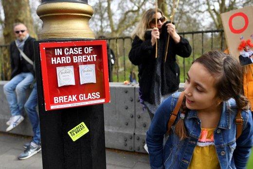 یکی از شرکتکنندگان  در راهپیمایی  مخالفان خروج بریتانیا از اتحادیه اروپا (برگزیت) که از مرکز لندن به سمت پارلمان برگزار شد، به تابلو نگاه می کند
