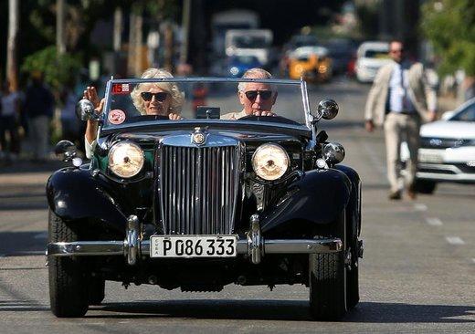 چارلز، شاهزاده ولز، و کامیلا، دوشس کورنوال، در جشنواره  اتومبیلهای کلاسیک بریتانیا که در شهر هاوانای کوبا برگزار شده، حضور دارند
