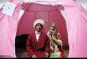 تصاویر | عروسی ۳۵ زوج سیلزده زیر پرچم امام رضا(ع)
