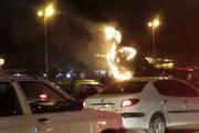 فیلم | آتشسوزی شبانه نماد طاووس دروازه قرآن شیراز!