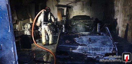 آتش سوزی کارگاه صافکاری و نقاشی خودرو