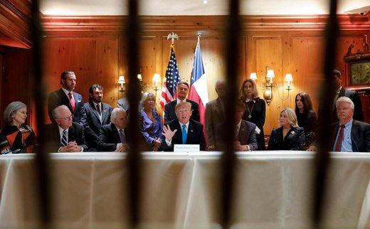 ترامپ، رئیس جمهور آمریکا، درباره مزر مکزیک با این کشور در شهر سن آنتونیو تگزاس صحبت می کند