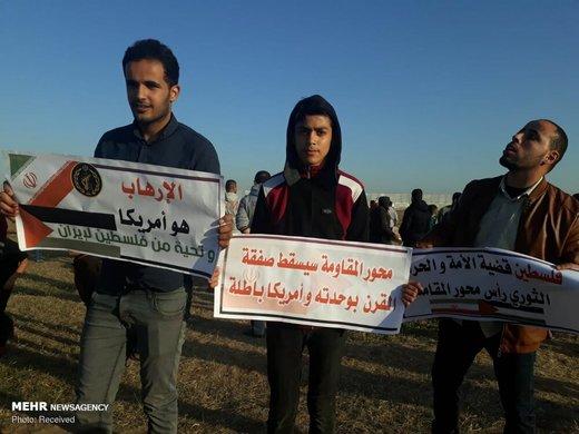 حمایت مردم غزه از سپاه پاسداران در راهپیمایی بازگشت