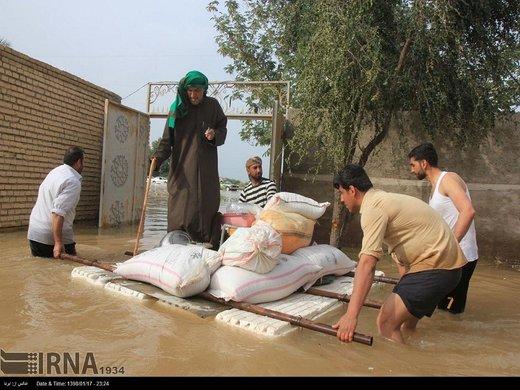 طغیان رودهای هوفل و سابله/ شهر بستان در آستانه سیلاب