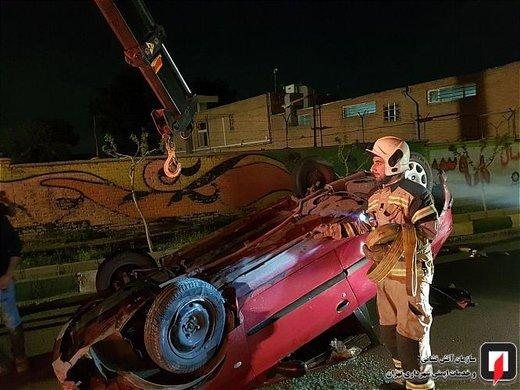 تصادف پراید با پژو 206 در جاده شهریار