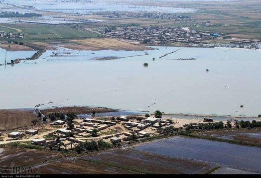 تصاویر هوایی از آخرین وضعیت سیل در خوزستان