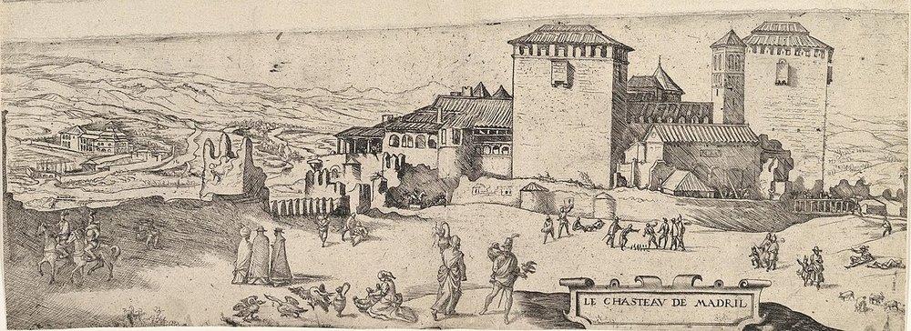 تصویری از دژ سلطنتی مادرید پیشاز گسترش سال ۱۵۳۷ میلادی