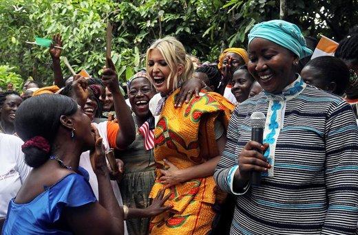 دیدار ایوانکا ترامپ، دختر رئیس جمهور آمریکا، با کارآفرینان زن در مزرعه کاکائو در ساحل عاج