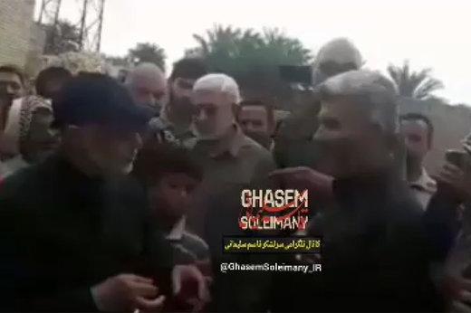 فیلم | سخنرانی عربی قاسم سلیمانی در جمع سیلزدگان خوزستان