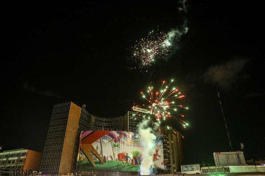 مراسم نورافشانی جشن نیمه شعبان در میادین شهر تهران