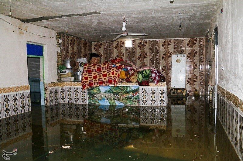 تصاویر   وضع بحرانی یک روستا در سیل شادگان