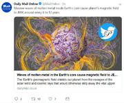 ظهور حبابها در هسته زمین و بروز جهشهای ژئومغناطیس
