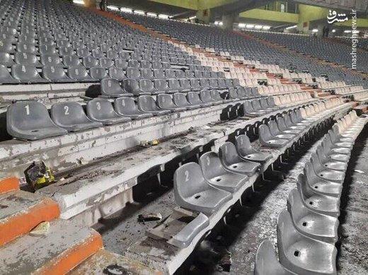 وضعیت ورزشگاه آزادی پس از درگیری هواداران پرسپولیس و سپاهان