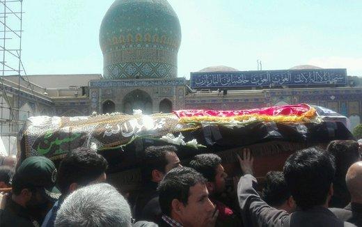 پیکر مادر شهیدان طهرانیمقدم در حرم عبدالعظیم(ع) آرام گرفت