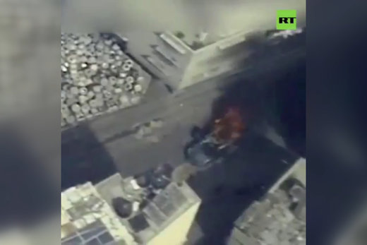 فیلم | حمله هوایی به خودروی فرمانده حماس در غزه