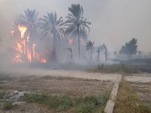 ورودی شهر شوشتر آتش گرفت