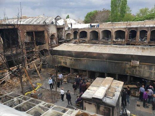 آتش به بازار جهانی تبریز ۲۰۰ میلیارد خسارت زد/ عکس