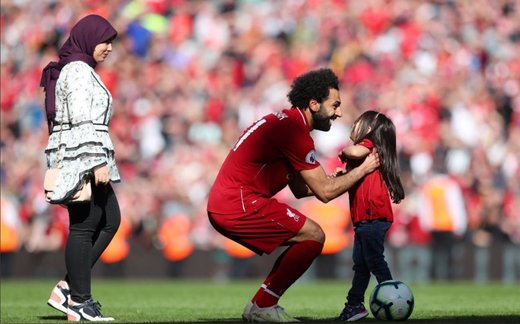 محمد صلاح با خانوادهاش در استادیوم آنفیلد