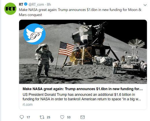 تصویب بودجه ۱.۶ میلیارد دلاری برای فتح ماه و مریخ