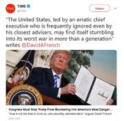 تایم: کنگره مانع از اشتباه ترامپ برای وقوع جنگ با ایران شود