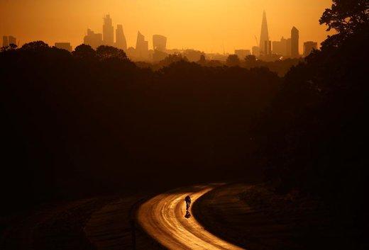 خورشید به بالای برج شارد لندن رسیده و یک دوچرخه سوار نیز از ریچموند پارک عبور میکند