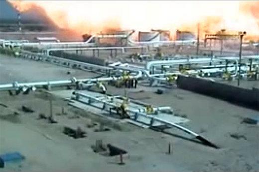 فیلم   لحظه انهدام پالایشگاهی که بزرگترین خط لوله نفت عربستان را متوقف کرد