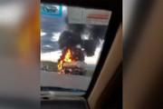 فیلم   آتشسوزی تریلی حامل تانکر در اتوبان زنجان-تبریز