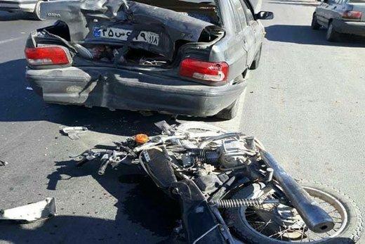 شاخ به شاخ پراید با موتور یک کشته و یک مجروح برجای گذاشت