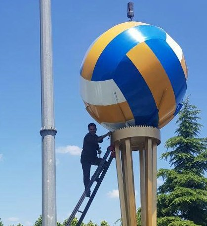 جانمایی نماد والیبال ویژه لیگ ملتها در ارومیه/ عکس