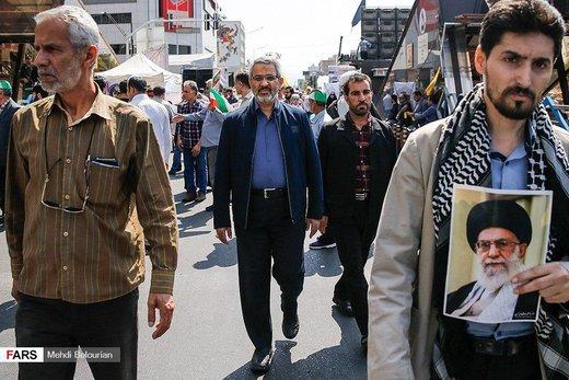 حضور سردار غیبپرور، رئیس سازمان بسیج مستضعفین، در راهپیمایی روز قدس