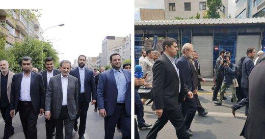 حضور «لاریجانی» رئیس مجلس و «جهانگیری» معاون اول رئیس جمهور در راهپیمایی شکوهمند روز جهانی قدس