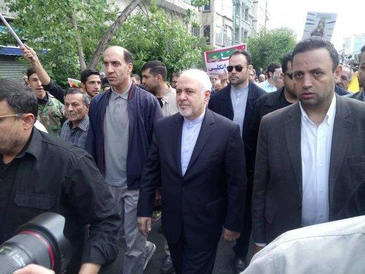 محمد جواد ظریف، وزیر امور خارجه در راهپیمایی روز جهانی قدس